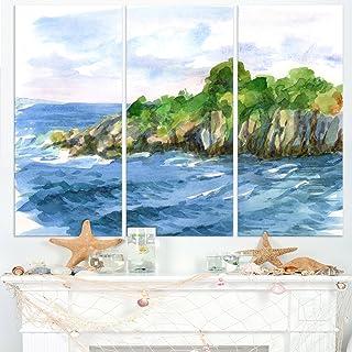 绿珠和海 - 水彩海景金属墙艺术 - MT7472-121.92x71.12-4 片
