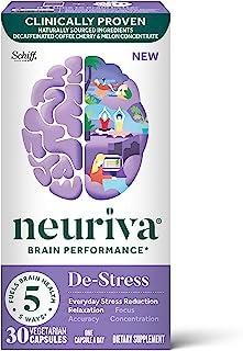 Neuriva 舒缓胶囊,支持补充剂(一瓶30粒),用于日常减轻压力,放松,专注,准确和集中*,L-茶氨酸,SOD,咖啡樱桃