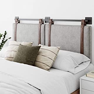 Nathan James Harlow 壁挂式人造革或织物软垫床头板,可调节高度复古棕色皮带,黑色哑光金属导轨,全女王,灰色