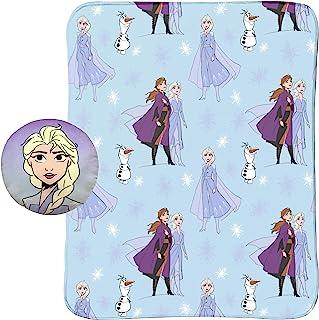Jay Franco Disney 冰雪奇缘 2 40 英寸 x 50 英寸毛毯,儿童超柔软两件套Nogginz 艾莎、安娜、雪宝(迪士尼官方产品)