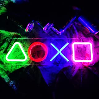 Unique Signs Light Playstation 霓虹灯图标霓虹灯标志游戏玩家游戏室装饰卧室墙壁装饰男孩青少年游戏玩家生日礼物,USB 供电
