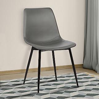 Armen Living Monte 餐椅,灰色人造革和奥本湾饰面