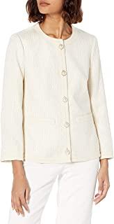 Anne Klein 女士无领前纽扣夹克,带新颖饰边