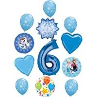 冰雪奇缘派对用品 6 岁生日气球花束装饰艾莎、安娜和奥拉夫的冬季仙境