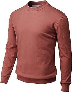 H2H 男式修身基本罗纹保暖高领套头毛衣