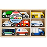 Melissa & Doug 木制城镇车辆玩具套装,带木制托盘(9辆车)