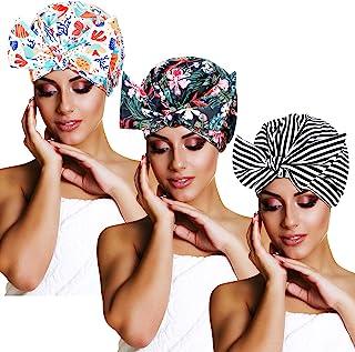 3 件套防水蝴蝶结浴帽可重复使用浴帽多功能浴帽适用于女士女孩(条纹、棕榈叶、海洋动物)