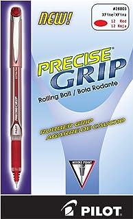 PILOT Precise Grip 液体墨水滚珠棒笔,粗笔尖,红色墨水,12 支装 (28903)