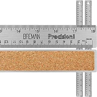 Breman 精密不锈钢 45.72 厘米金属尺子 2 件装 - 直边尺,英寸和公制毕业典礼 适用于学校办公室工程木工 - 灵活带防滑软木底座