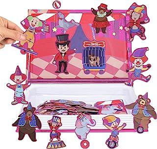 JITEBTI 马戏团磁性拼图游戏场景 38 片适合孩子的想象力和创造力,易于携带儿童磁性旅行游戏,学习和教育游戏玩具,适合 3 岁以上儿童