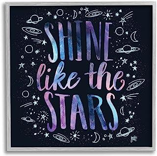Stupell Industries Shine Like Stars 短语 宇宙排版星座素描,由 Jackie Quigley Grey 带框墙艺术,30.48 x 30.48 厘米,多色