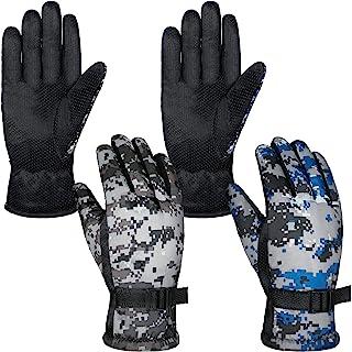 2 双冬季滑雪手套防风迷彩滑雪手套中性保暖手套,带可调节搭扣,适合寒冷天气成人