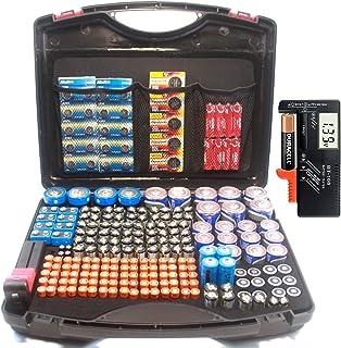 大容量电池存储收纳袋,适合大多数电池,带电池测试仪,顶部有 3 个网袋