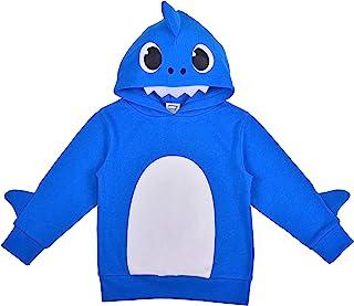 Nickelodeon 尼克国际儿童频道男孩鲨鱼图案套头时尚连帽夹克,带 3D 鳍