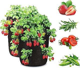 Sarhlio 2 包 10 加仑草莓生长袋透气无纺布种植袋,带 8 个侧袋和手柄,适用于草莓、草本、花卉、蔬菜、水果、室内和室外(PGB01B)