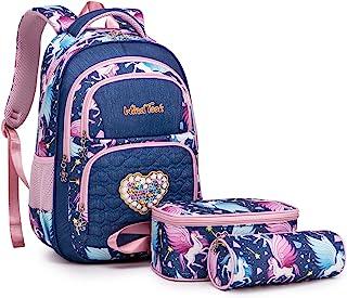 Windtake女童书包 基础学生包 带保温午餐袋 铅笔盒 3合1书包