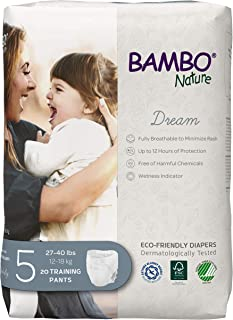 Bambo Nature Premium Eco-Friendly Training Pants, Size 5 (27-40 Lbs), 20 Count