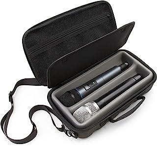 CASEMATIX 双无线麦克风外壳兼容无线麦克风系统手持式麦克风,Sennhesier 舒尔等,双麦克风包带肩带和硬壳外部