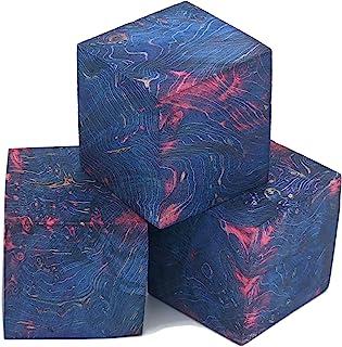 稳定木坯料,用于制作戒指和木头转动(盒长棕色 - 蓝色/粉色)