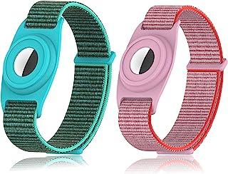 [2 件装] Airtag 腕带,儿童,Airtag 保护套与 Apple Airtag 兼容,可调节防丢失 Airtag 舒适尼龙表带,适合儿童宝宝青春老人