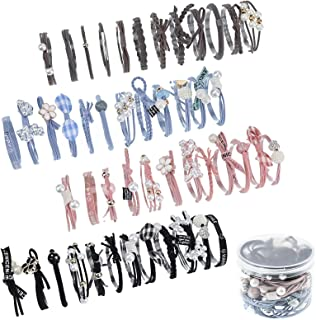 48 件幸运蝴蝶结发带时尚珍珠发饰可爱高弹性马尾辫支架发绳弹性橡胶带发饰(黑色、蓝色、粉色、棕色)