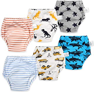 MooMoo 婴儿 6 件装棉质训练裤可重复使用幼儿如厕训练内衣,适合男孩和女孩