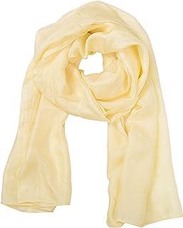 Mimi 天然桑蚕丝长围巾,自然染色,奢华柔软