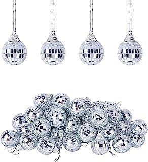 Wehhbtye 60 件 1.2 英寸镜子迪斯科球-银色玻璃明亮反光挂球装饰,迪斯科球蛋糕装饰,适用于家庭舞台俱乐部假日生日派对圣诞树照明装饰