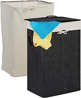 Relaxdays 竹制洗衣篮 可折叠洗衣篮 带盖 80 升 矩形 2 个洗衣袋 66 × 44 × 34 厘米 黑色