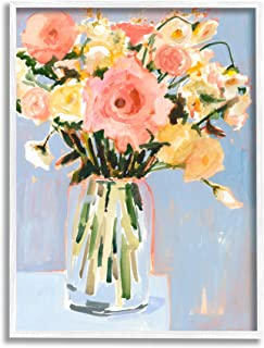 Stupell Industries 别致花卉花束柔和春季花朵,由 Victoria Borges 设计白色带框墙壁艺术,24 x 30,蓝色