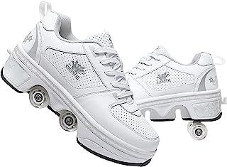 女士/男士溜冰鞋,带轮子的滑板鞋可伸缩户外四轮滑冰鞋变形滑板鞋适合成人/儿童/女孩,中性初学者运动鞋