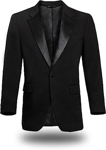 FRANKERS * 涤纶常规款经典缎面缺口领单扣男士黑色燕尾服夹克
