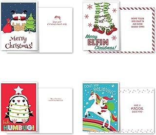 B-THERE 12 张盒装圣诞贺卡 - 幽默、铝箔和闪光饰面带信封