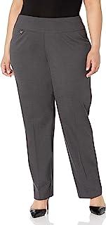 SLIM-SATION 女式加大码套穿纯色针织喇叭裤腿带腹部拼接