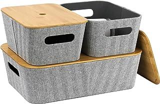 LA JOLIE MUSE 中世纪现代浅灰色粗花呢面料储物篮 3 件套适用于立方体搁板衣柜书柜抽屉柜,多功能收纳盒带竹盖