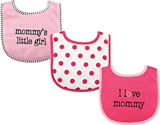 Luvable Friends 3 Piece Drooler Bibs with Fiber Filling for Girls, I love Mommy