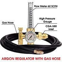 Argon 调节器 TIG 焊机 MIG 焊接 CO2 流量计 10 至 60 CFH - 0 至 4000 psi 压…