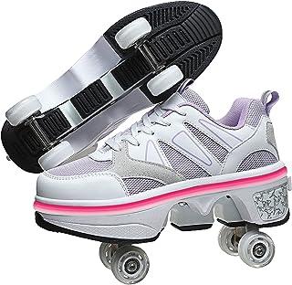 LED 变形溜冰鞋适合成人和儿童,双排步行鞋带隐形轮