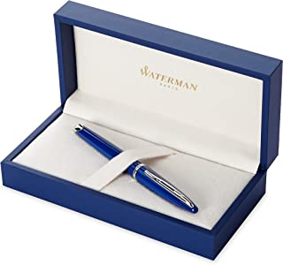 Waterman 威迪文 Carène钢笔,亮蓝色,镀钯装饰,中笔尖配蓝色墨盒,礼品盒