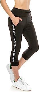 ALWAYS 女式 Capri 慢跑裤 - 瑜伽锻炼 拉伸 高腰抽绳 口袋 紧身运动裤