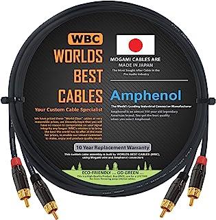 WORLDS BEST 电缆 - 5 英尺(约 1.4 米) – 高清音频互连电缆一对 使用 Mogami 2964 电线和 Amphenol ACPL 黑色镀铬外壳,镀金 RCA 连接器