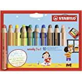 STABILO 思笔乐 woody 三合一水彩蜡笔 多用途 10支笔组合装 包含卷笔刀