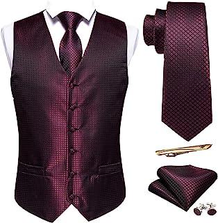 Barry.Wang 男士丝绸格子马甲格子领带袖扣口袋方形背心套装婚礼正装 5 件套