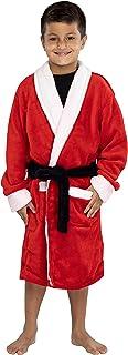 男童红色圣诞老人毛绒浴袍