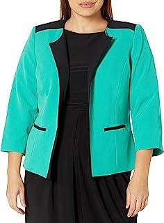 Kasper 女式加大码弹力绉纱夹克,带过肩组合