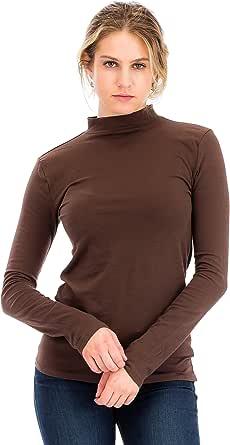 女式休闲修身棉质长袖半高领上衣 T 恤