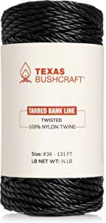 Texas Bushcraft Tarred Bank Line 绳索 - #36 黑色尼龙绳,用于钓鱼、露营和户外生存 - 强韧、防风雨的线绳索,适用于Trotline