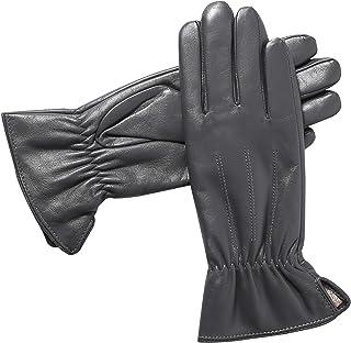 女式奢华羊绒衬里真皮手套 - Alomidds 触摸屏冬季手套 温暖防风户外驾驶