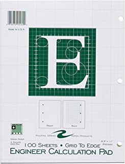 "Roaring Spring Engineering Pad, 8.5"" x 11"", Green, 100 sheets, Grid-to-Edge"