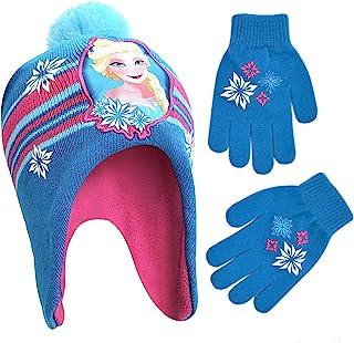 Disney 迪士尼女孩冬帽套装,冰雪奇缘艾莎和安娜儿童无檐*帽和手套,适合 4-7 岁儿童